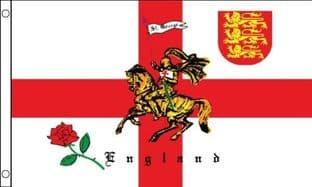 English Rose and Lion 5ft x 3ft Flag