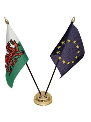 European Union with Wales Friendship Table Flag