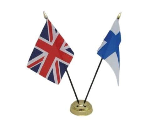 Finland with UK Friendship Table Flag