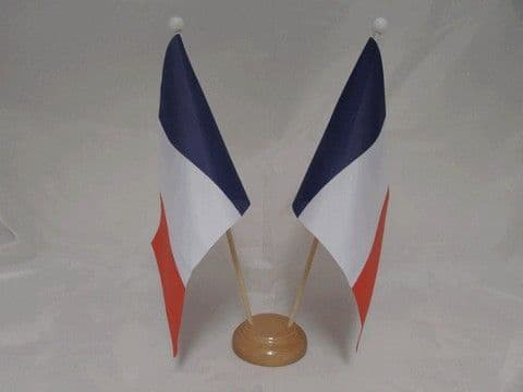 France Double Wooden Table Flag