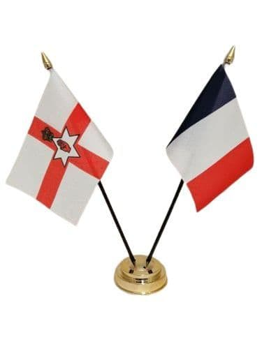 France with Northern Ireland Friendship Table Flag