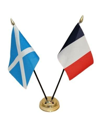 France with Scotland Friendship Table Flag