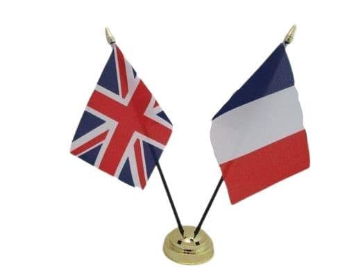 France with UK Friendship Table Flag