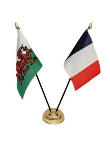 France with Wales Friendship Table Flag