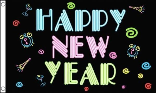 Happy New Year Neon 5ft x 3ft Flag