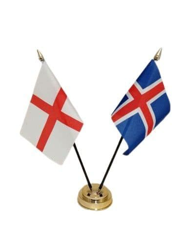 Iceland with England Friendship Table Flag