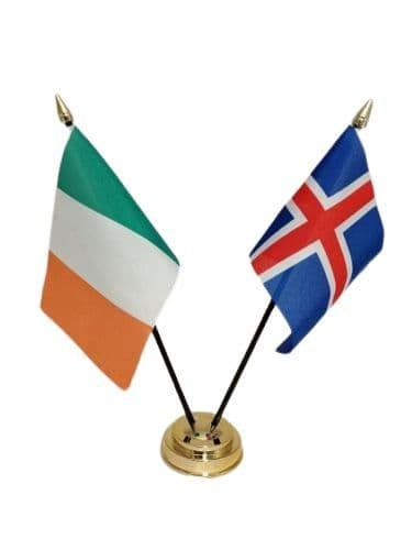 Iceland with Ireland Friendship Table Flag