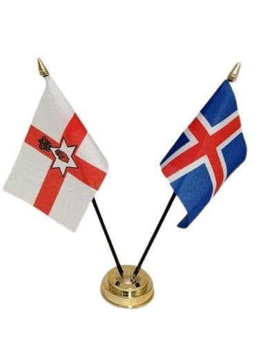 Iceland with Northern Ireland Friendship Table Flag