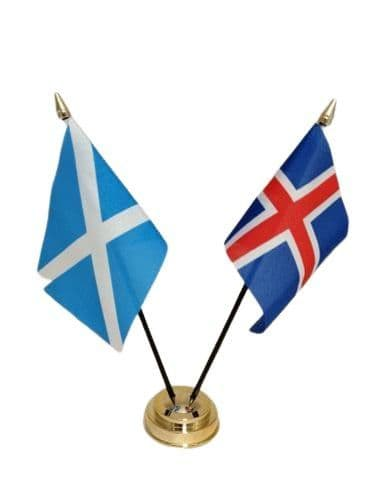 Iceland with Scotland Friendship Table Flag