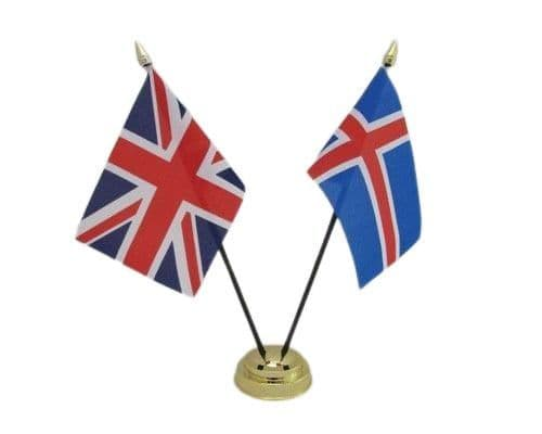 Iceland with UK Friendship Table Flag