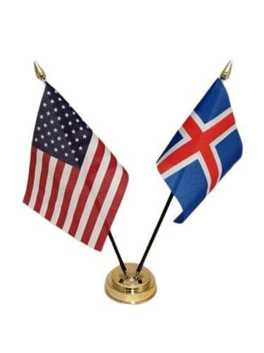 Iceland with USA Friendship Table Flag