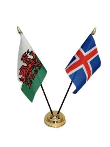 Iceland with Wales Friendship Table Flag