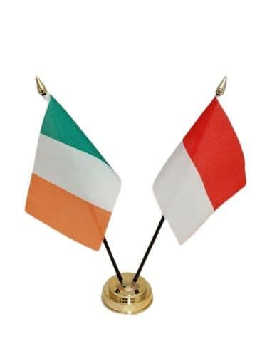 Indonesia with Ireland Friendship Table Flag