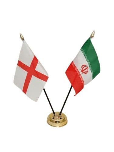 Iran with England Friendship Table Flag