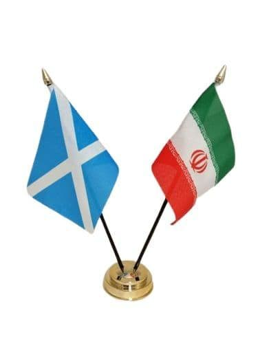 Iran with Scotland Friendship Table Flag