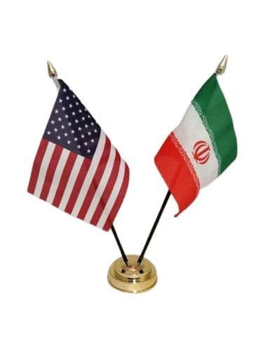 Iran with USA Friendship Table Flag