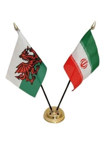 Iran with Wales Friendship Table Flag