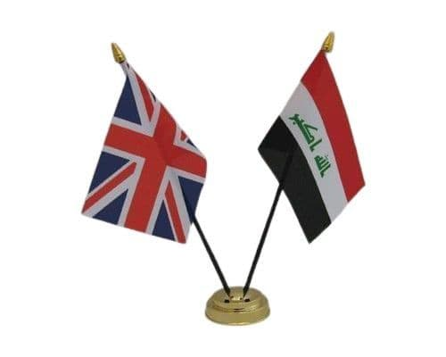 Iraq with UK Friendship Table Flag
