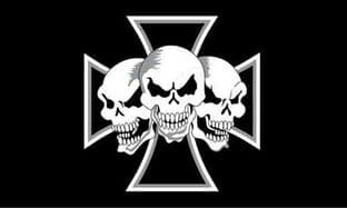 Iron Cross 3 Skulls 5ft x 3ft Flag