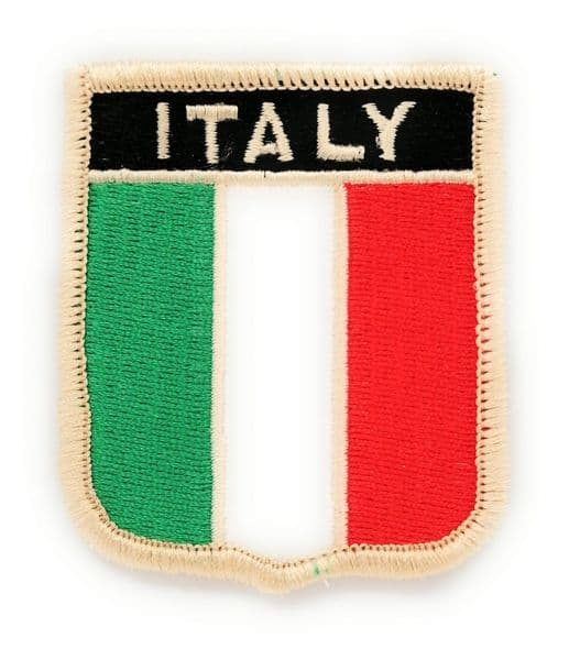Italy Flag Shield Embroidered Sew on patch