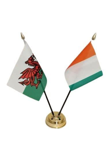 Ivory Coast with Wales Friendship Table Flag