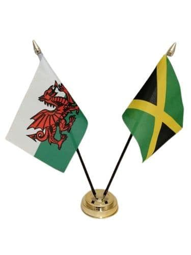 Jamaica with Wales Friendship Table Flag