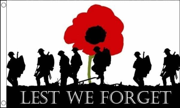 1918-2020 WW2 Remembrance Day 5ft 3ft Flag Union Jack Lest We Forget