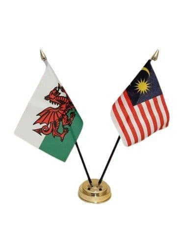 Malaysia with Wales Friendship Table Flag