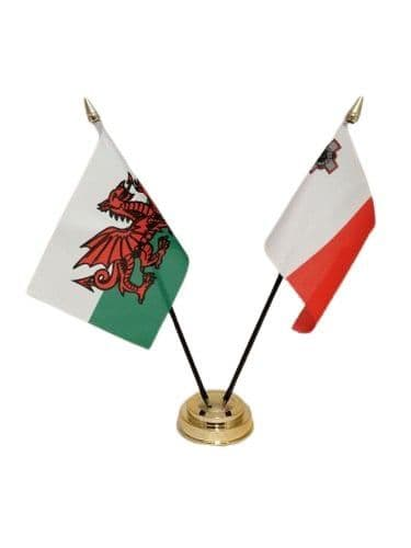 Malta with Wales Friendship Table Flag
