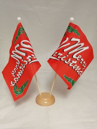 Merry Christmas Double Wooden Table Flag