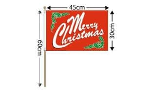 """Merry Christmas Large Hand Flag (18"""" x 12"""") - 12 PACK"""