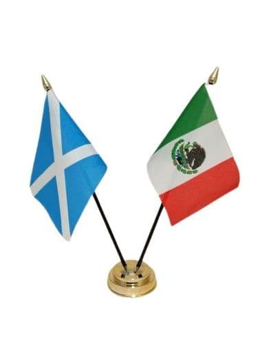 Mexico with Scotland Friendship Table Flag