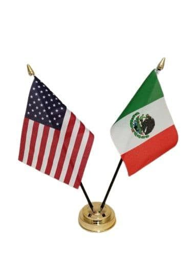 Mexico with USA Friendship Table Flag
