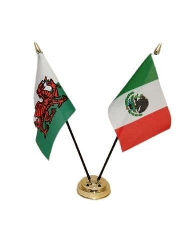 Mexico with Wales Friendship Table Flag