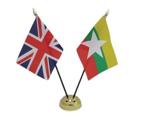 Myanmar with UK Friendship Table Flag