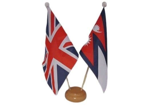 Nepal Friendship Wooden Table Flag