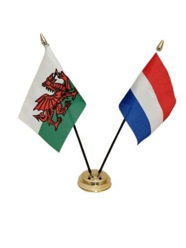 Netherlands with Wales Friendship Table Flag