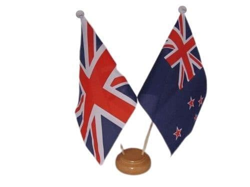 New Zealand Friendship Wooden Table Flag