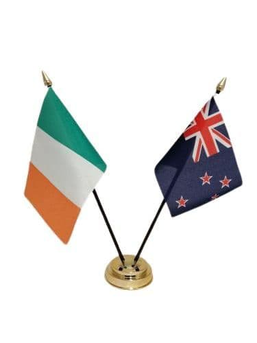 New Zealand with Ireland Friendship Table Flag
