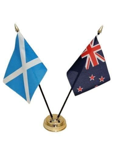 New Zealand with Scotland Friendship Table Flag