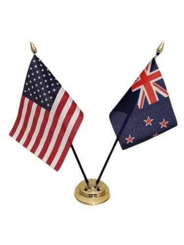 New Zealand with USA Friendship Table Flag