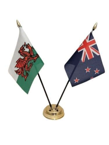 New Zealand with Wales Friendship Table Flag