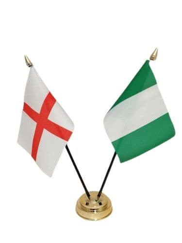 Nigeria with England Friendship Table Flag