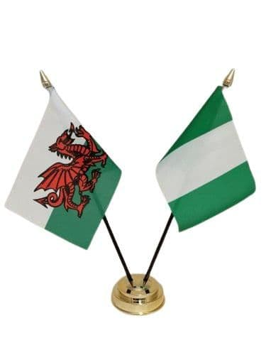 Nigeria with Wales Friendship Table Flag