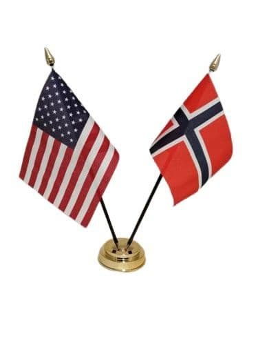 Norway with USA Friendship Table Flag