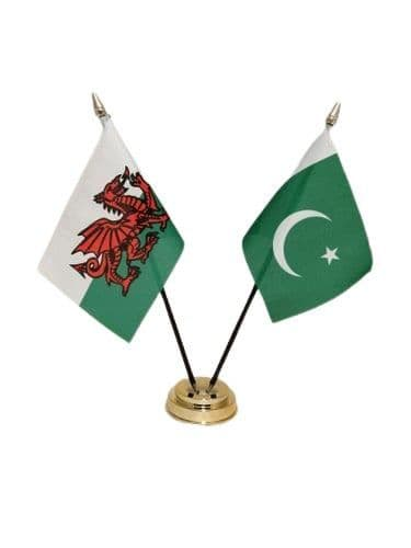 Pakistan with Wales Friendship Table Flag