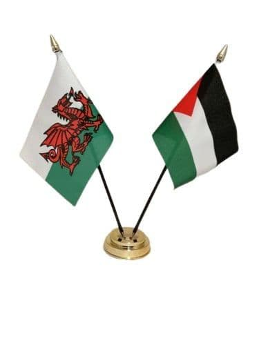 Palestine with Wales Friendship Table Flag
