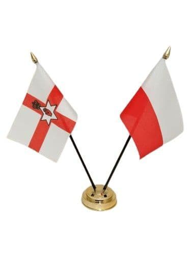 Poland with Northern Ireland Friendship Table Flag
