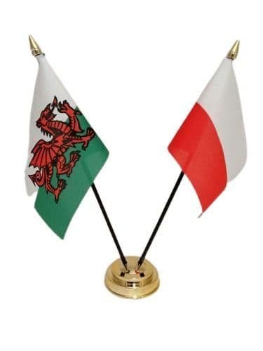 Poland with Wales Friendship Table Flag