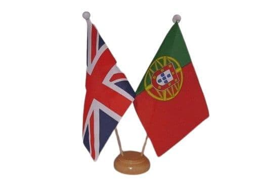 Portugal Friendship Wooden Table Flag